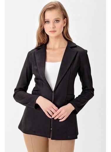 Jument Süet Gabardin Uzun Kol Yakalı Ceket Siyah